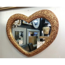 Heart Wall Mirror Ornate Gold Colour Frame French Engraved Roses 75x63cm