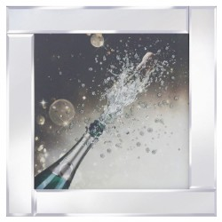 Champagne Explosion on Mirrored Frame Mirror Frame Picture with Glitter Liqud Galss Wall Art