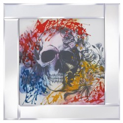 Multi Coloured Skull on Mirrored Frame Mirror Frame Picture with Glitter Liqud Galss Wall Art