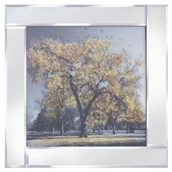 Gold Tree on Mirrored Frame Mirror Frame Picture with Glitter Liqud Galss Wall Art