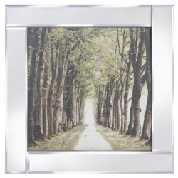 Tree Lined Path on Mirrored Frame Mirror Frame Picture with Glitter Liqud Galss Wall Art