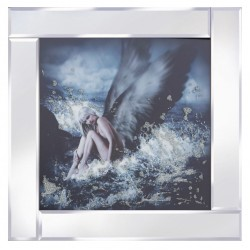 Angel on the Waves Mirror Frame Picture with Glitter Liqud Galss Wall Art