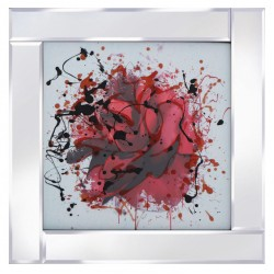 Deep Red Abstract Rose Mirror Frame Picture with Glitter Liqud Galss Wall Art