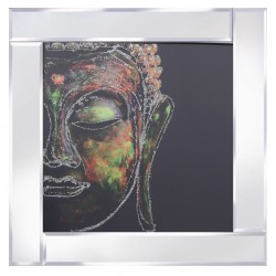Multi Coloured Buddha on Mirrored Frame Mirror Frame Picture with Glitter Liqud Galss Wall Art