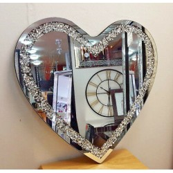 Premierinteriors Gatsby Heart Crushed Diamond Crystal Glass Frame Silver Bevelled Wall Mirror 70x70cm Bling Heart Shape