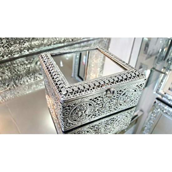 Jewellery Box Moroccan Silver Metal Antique Tradional Mirror 13x13x6cm