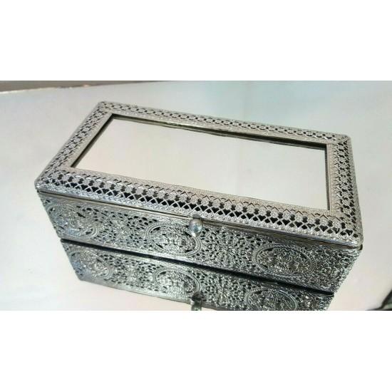 Jewellery Box Moroccan Silver Metal Antique Tradional Mirror 21x11x6cm