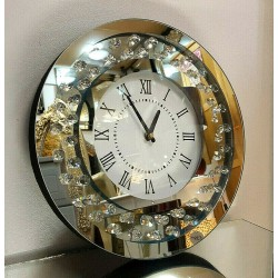 Modern Floating Crystals Bevelled Mirror Glass Round Wall Clock 35cm Silver