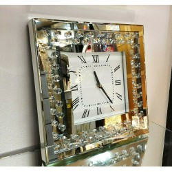 Modern Floating Crystals Bevelled Mirror Glass Square Wall Clock 35cm Silver