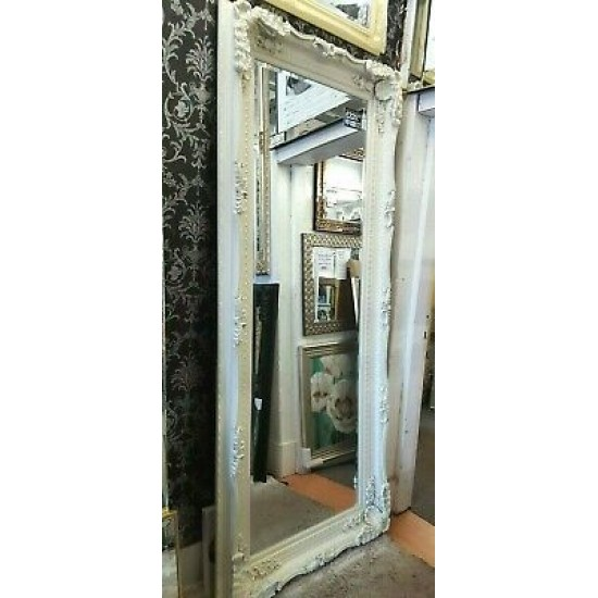 X Large Antique Ivory Cream Ornate French Leaner Gilt Wall Mirror Glass 210x90cm