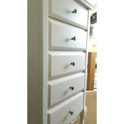 Tallboy 5 Drawer Narrow Chest French Classic Bedroom RRP£320 Oak White