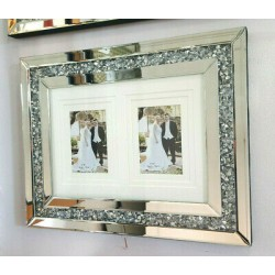 Crushed Crystal Mirror Glass Wall Photo Frame 2 Picture Diamonte Sparkly Silver