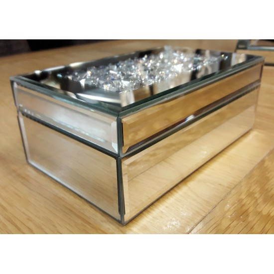 Mirrored Glass Crushed Crystal Silver Diamante Jewellery Box Bevelled Sparkly
