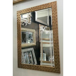John Lewis Antique Gold Mosaic Wall Mirror Wood Frame Bevelled 132x76cm RRP£220