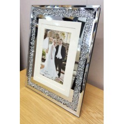 Crushed Crystal Mirror Glass Photo Diamonte Frame Picture Size 4x6(10x15cm)