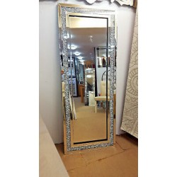 Large Gatsby Crushed Crystal Glass Silver Bevelled Wall Mirror 180x70cm