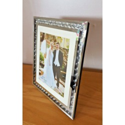 "Floating Crystal Mirror Glass Photo Diamonte Frame Picture Size 8""x10"" (20x25cm)"