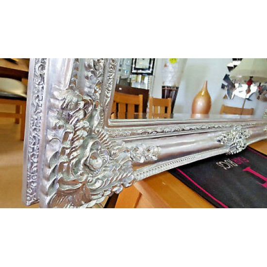 X-Large Antique Chrome / Silver Ornate French Leaner Wall Mirror 204x102cm New