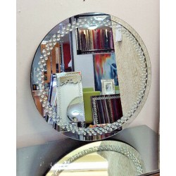 Floating Crystal Round Wall Mirror Elegent Glass Diamond Frame Bevelled 70cm