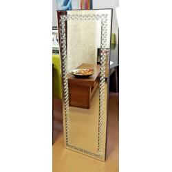 Floating Crystal Rectangle Wall Mirror Elegent Glass Full Length Frame 120x40cm