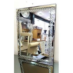 Floating Crystal Rectangle Wall Mirror Elegent Glass Diamond Frame 80x60cm Bling