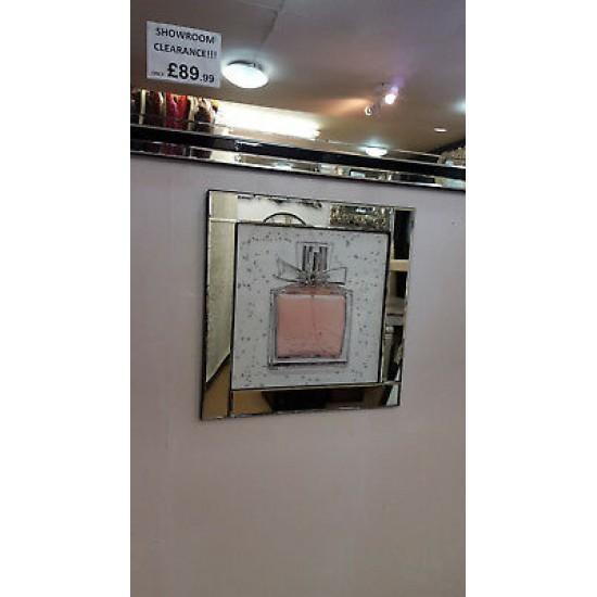 Premierinteriors Mirror Frame Perfume Bottle Picture with Glitter Liqud Galss Wall Art 60x60cm