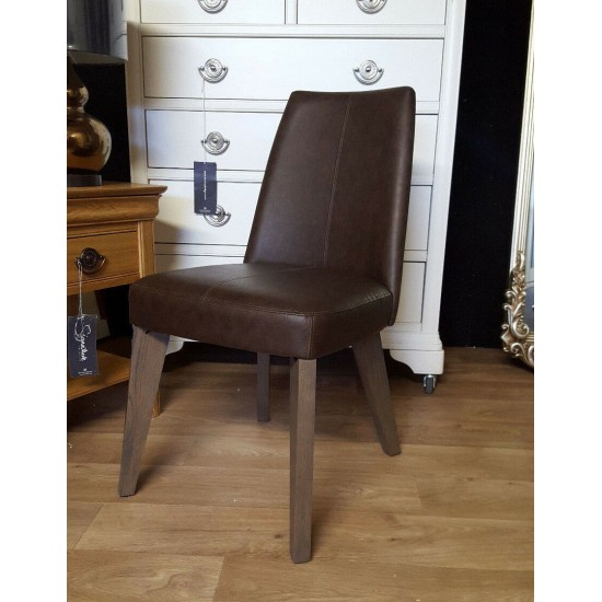 Bentley Designs Cadell Aged Weathered Oak Dining Chair Distressed Leather