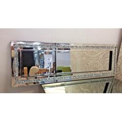 Premierinteriors Gatsby Crushed Diamond Crystal Glass Silver Frame Bevelled Wall Mirror 120x40cm