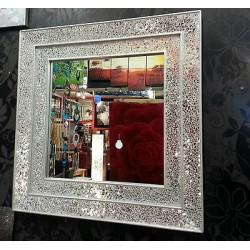 Crackle Glass Mosaic Wall Mirror Square Silver Double Frame Handmade 68X68cm New