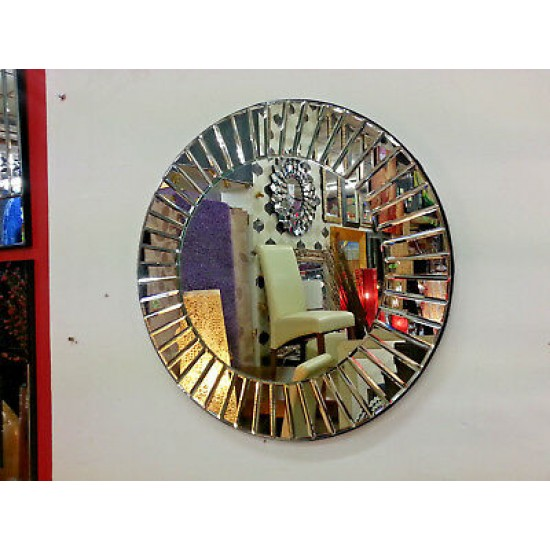 Contemporary Round Wall Mirror Segmented Strips Bevelled Stylish Frame 60cm