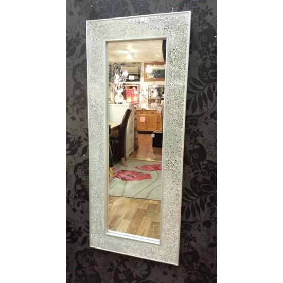 Crackle Mosaic Glass Silver Frame Wall Mirror Full Length 120x50cm