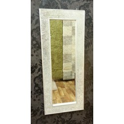 Crackle Mosaic Glass Silver Frame Wall Mirror Full Length 120x50cm