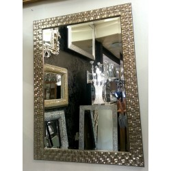 John Lewis Wall Mirror Bevelled RRP£140 Wood Mosaic Rectangular Frame Antique Silver / Champagne 66x92cm (26x36)