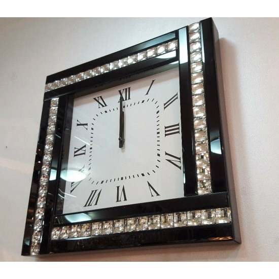 Modern Diamonte Crystal Mirrored Glass Square Wall Clock 45cm Black Frame