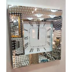Modern Glitter Dots Mirrored Glass Square Wall Clock 50cm Silver