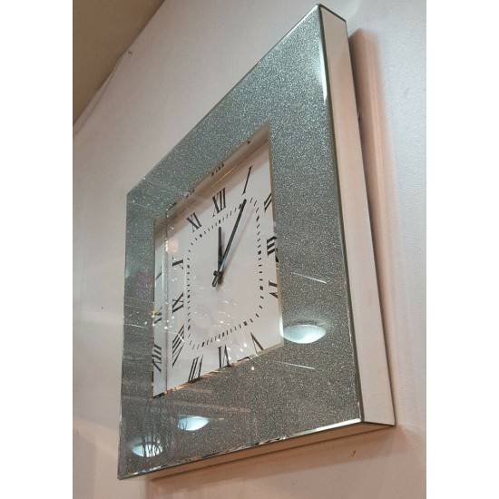 Modern Shimmer Glitter Crystals Mirror Glass Square Wall Clock 50cm Silver