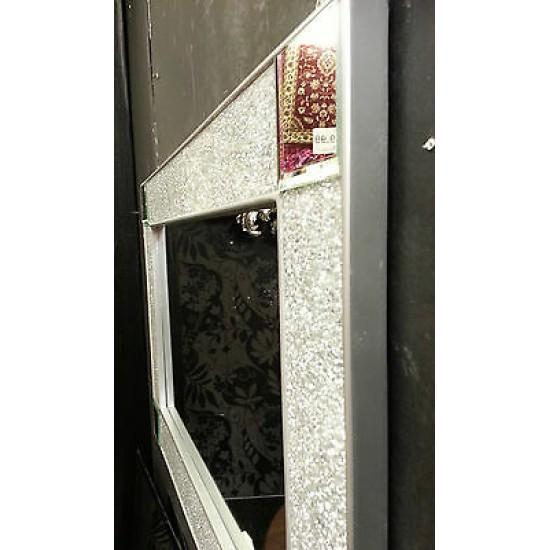 Crackle Design Wall Mirror Plain Silver Frame Mosaic Glass 90X60cm Mirror Corner