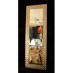 John Lewis Full Length Wall Mirror Rectangular Mosaic Wood Frame Champagne / Antique Silver 132x46cm (52x 18)