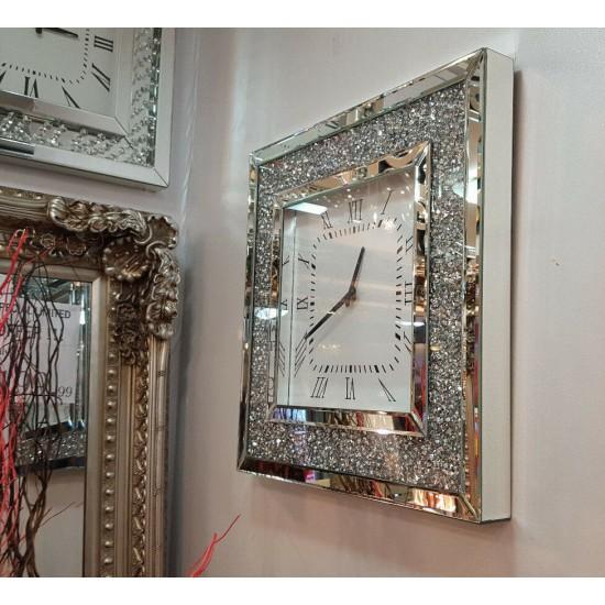 Gatsby Modern Diamante Crushed Crystal Mirror Glass Square Wall Clock 50cm Silver