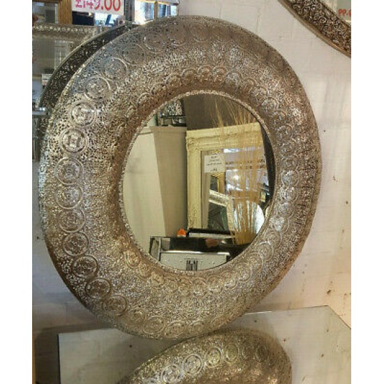 Round Moroccan Silver Metal Antique Tradional Frame Bevelled Wall Mirror 90x90cm
