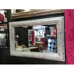 Crackle Bow Design Wall Mirror Silver Frame Mosaic Glass 120X80cm Handmade