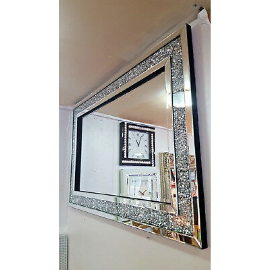 Premierinteriors Gatsby Crushed Diamond Crystal Glass Silver Frame Bevelled Wall Mirror 120x80cm