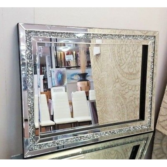 Gatsby Crushed Diamond Crystal Glass Silver Frame Bevelled Wall Mirror 60x80cm