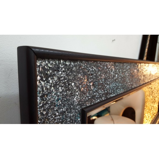 Crackle Silver Mosaic Glass Black Frame Wall Mirror Moroccan Style 120x50cm Handmade