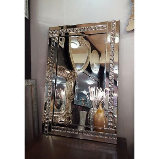 Modern Art Deco Acrylic Crystal Glass Design Bevelled Mirror 120x80cm Clear Silver