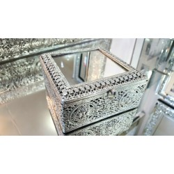 Jewellery Box Moroccan Silver Metal Antique Tradional Mirror 13x13x6cm