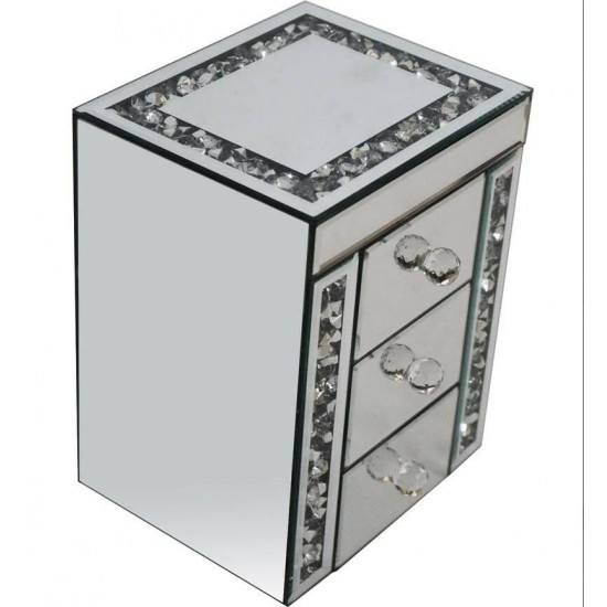 Gatsby Mirrored Glass Crushed Crystal Silver Diamante Jewellery Box Bevelled 3 Drawer