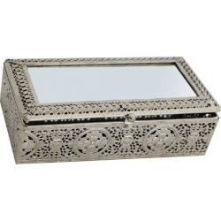 Jewellery Box Moroccan Silver Metal Antique Tradional Mirror 21x11x6cm
