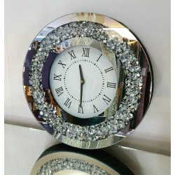 Gatsby Modern Diamante Crush Crystal Mirror Glass Round Wall Clock 35cm Silver