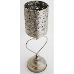 Moroccan Silver Metal Candle Holder Antique Tradional Round Decor 40x12x12cm